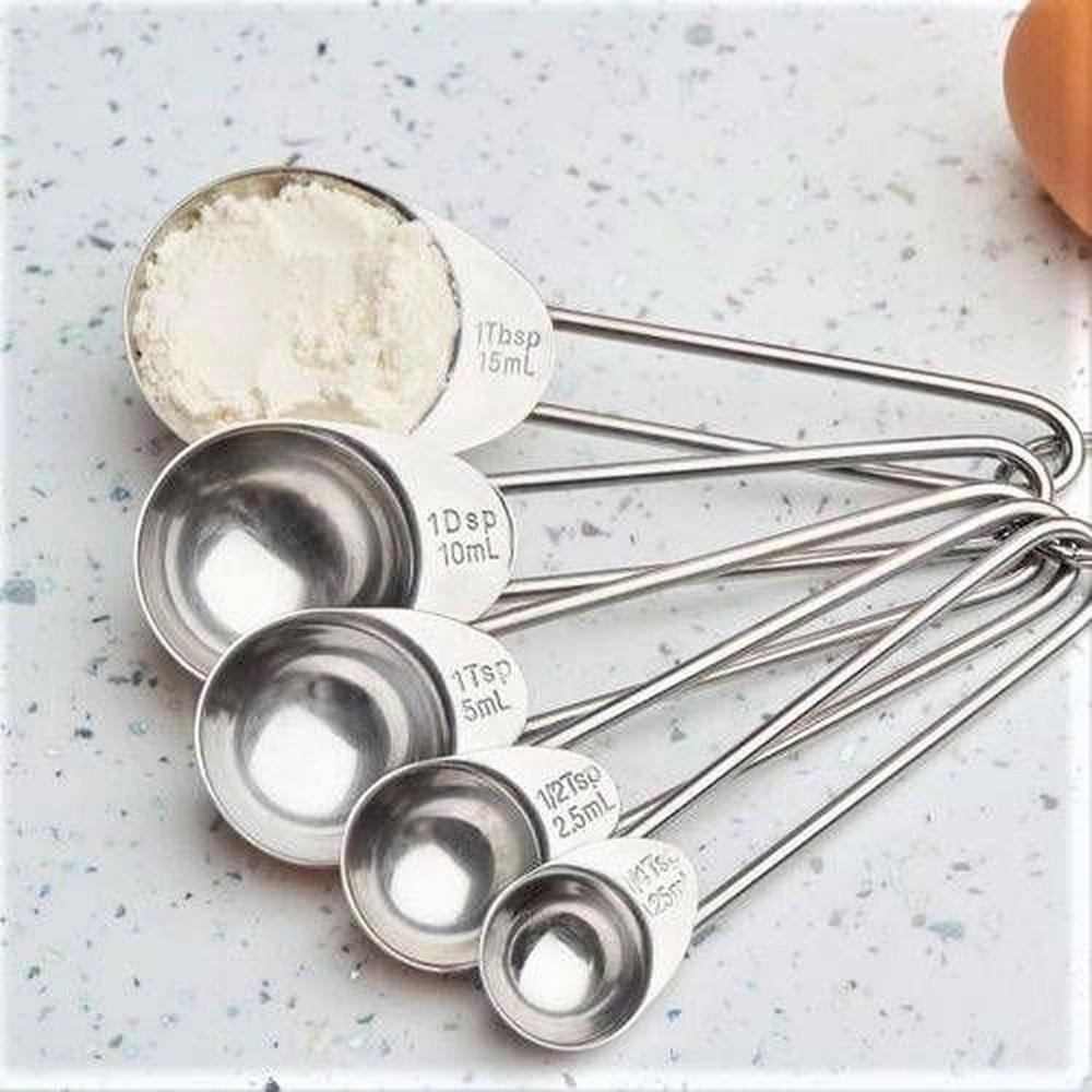 Jogo de Medidor em Inox 05 Colheres Medidores para Cozinha