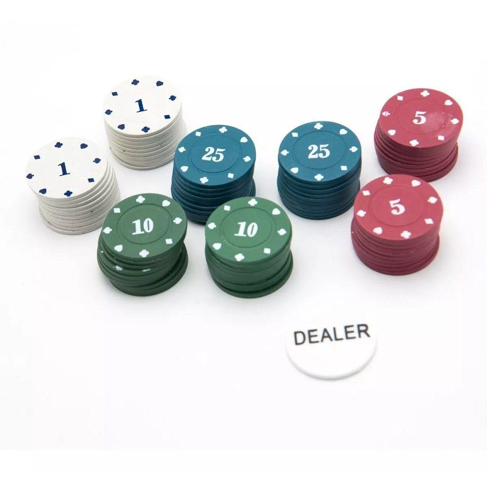 Jogo de Poker Profissional Lata com 100 fichas e Dealer