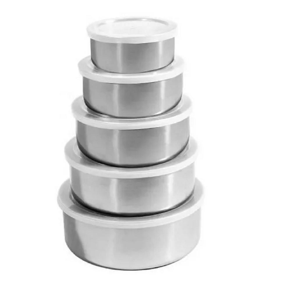 Jogo de Potes Aço Inox 05 Peças com Tampa Plastica Kehome