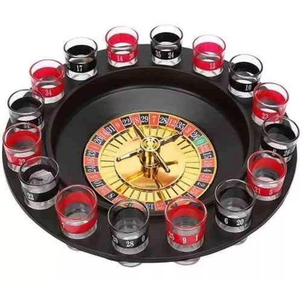 Jogo de Roleta Drink Shot 16 Copos Vidro Bebida Cassino