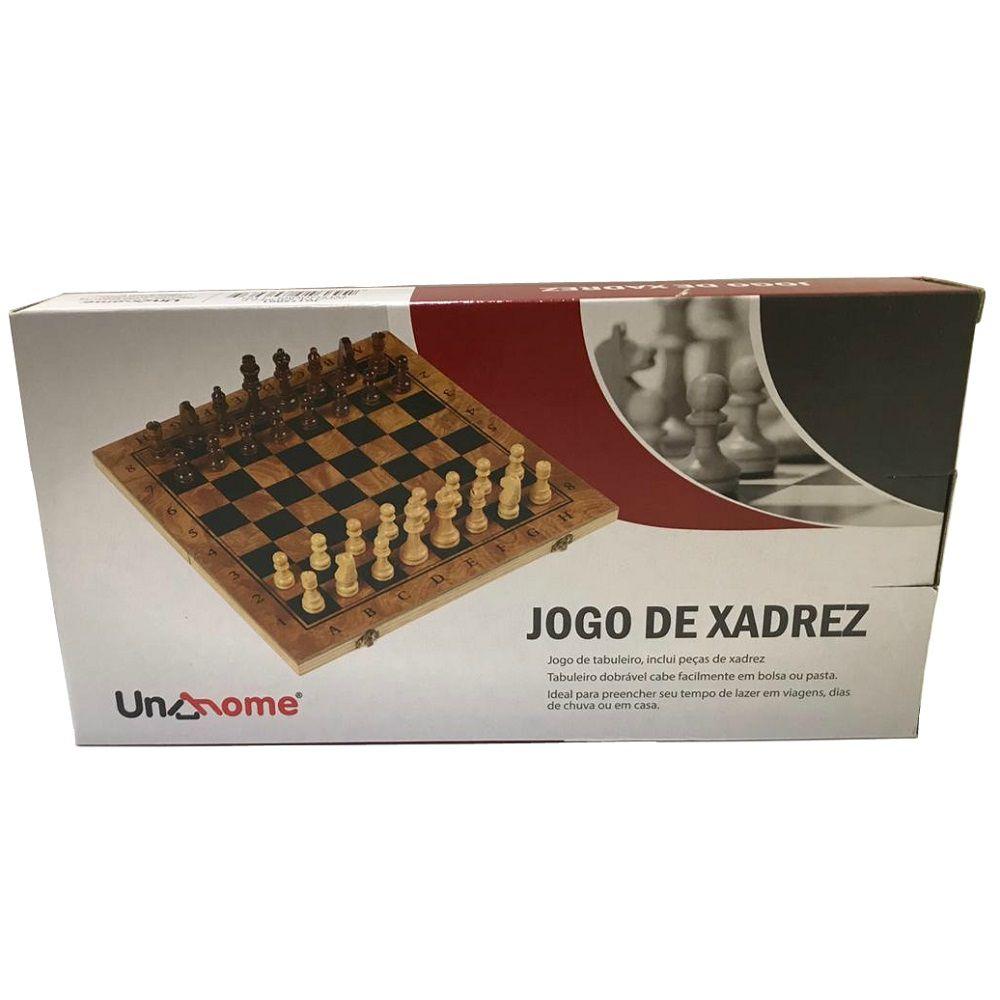 Jogo de xadrez Dobrável Peças e Tabuleiro em Madeira 24 x 24