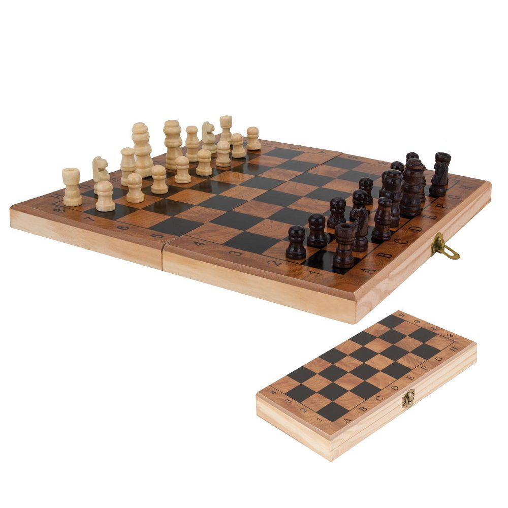 Jogo de Xadrez Dobrável Peças e Tabuleiro em Madeira 29 x 29