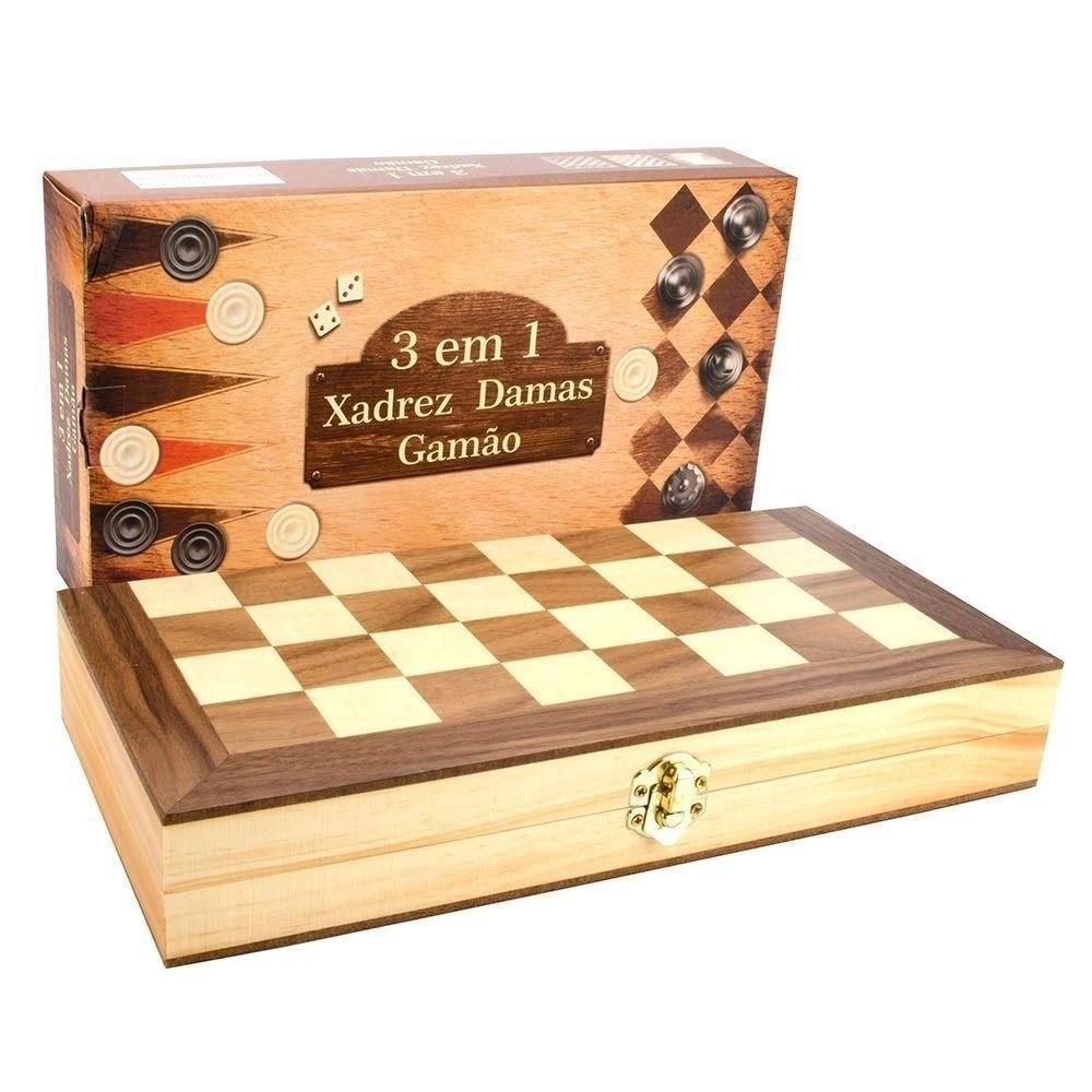 Jogo de Xadrez Dama Gamão Dobrável Tabuleiro em Madeira 30cm