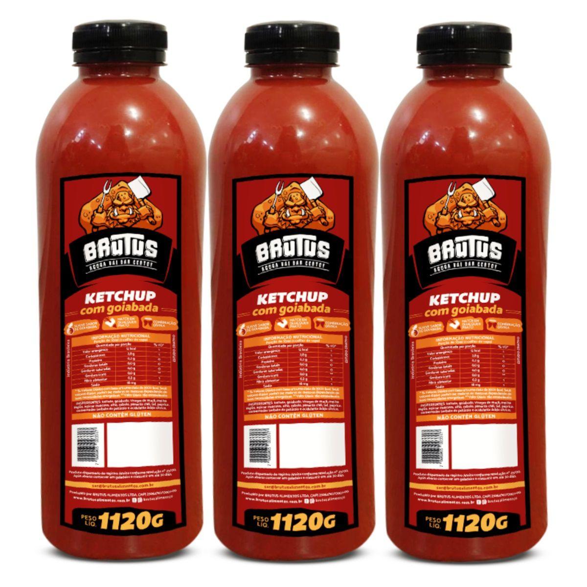 Ketchup com Goiabada Molho Brutus 1Litro 1120g 03 frascos