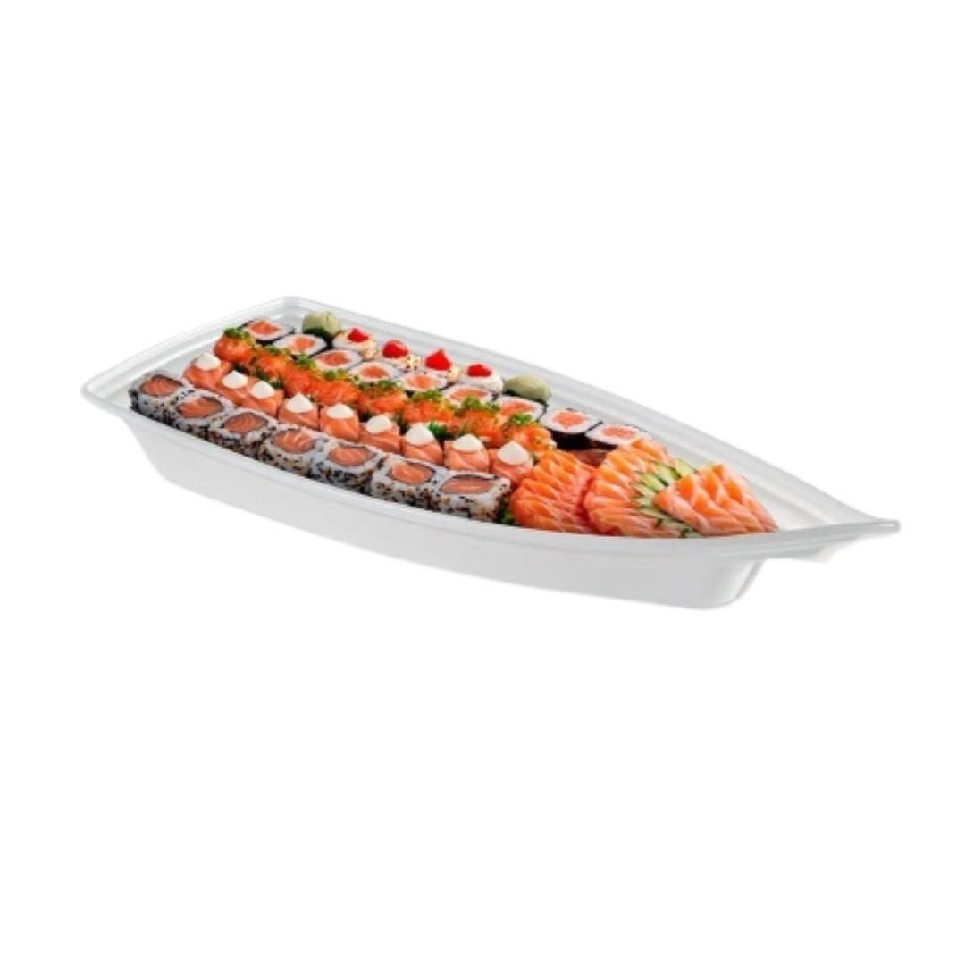 Kit 02 Barca Barco para Açaí Sushi Sashimi Bandeja 32 Branco