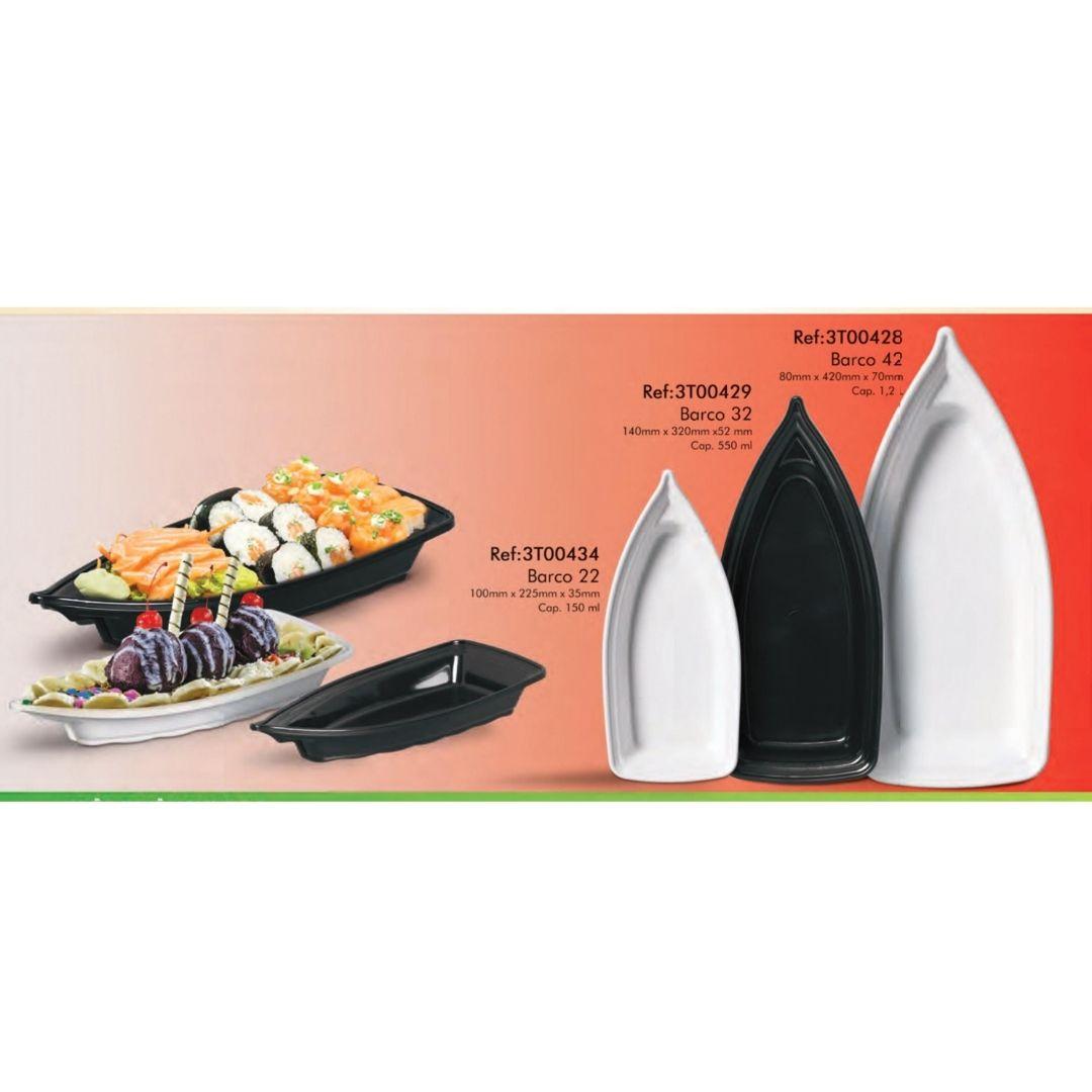 Kit 02 Barca Barco para Açaí Sushi Sashimi Bandeja 32 Preto