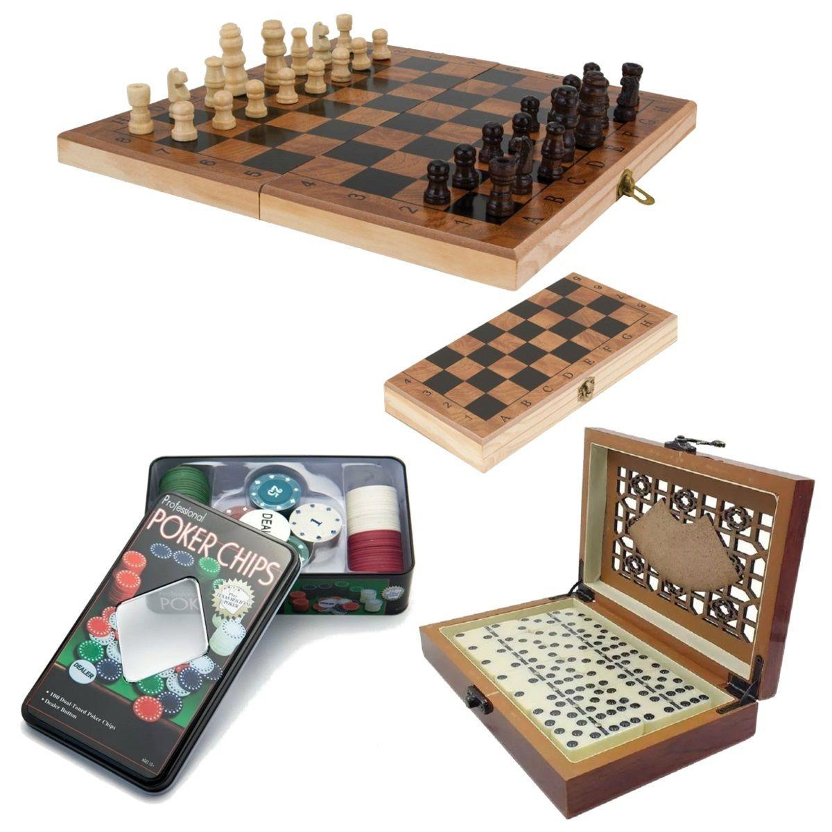Kit 03 Jogos Xadrez Tabuleiro Dominó Luxo Poker Profissional