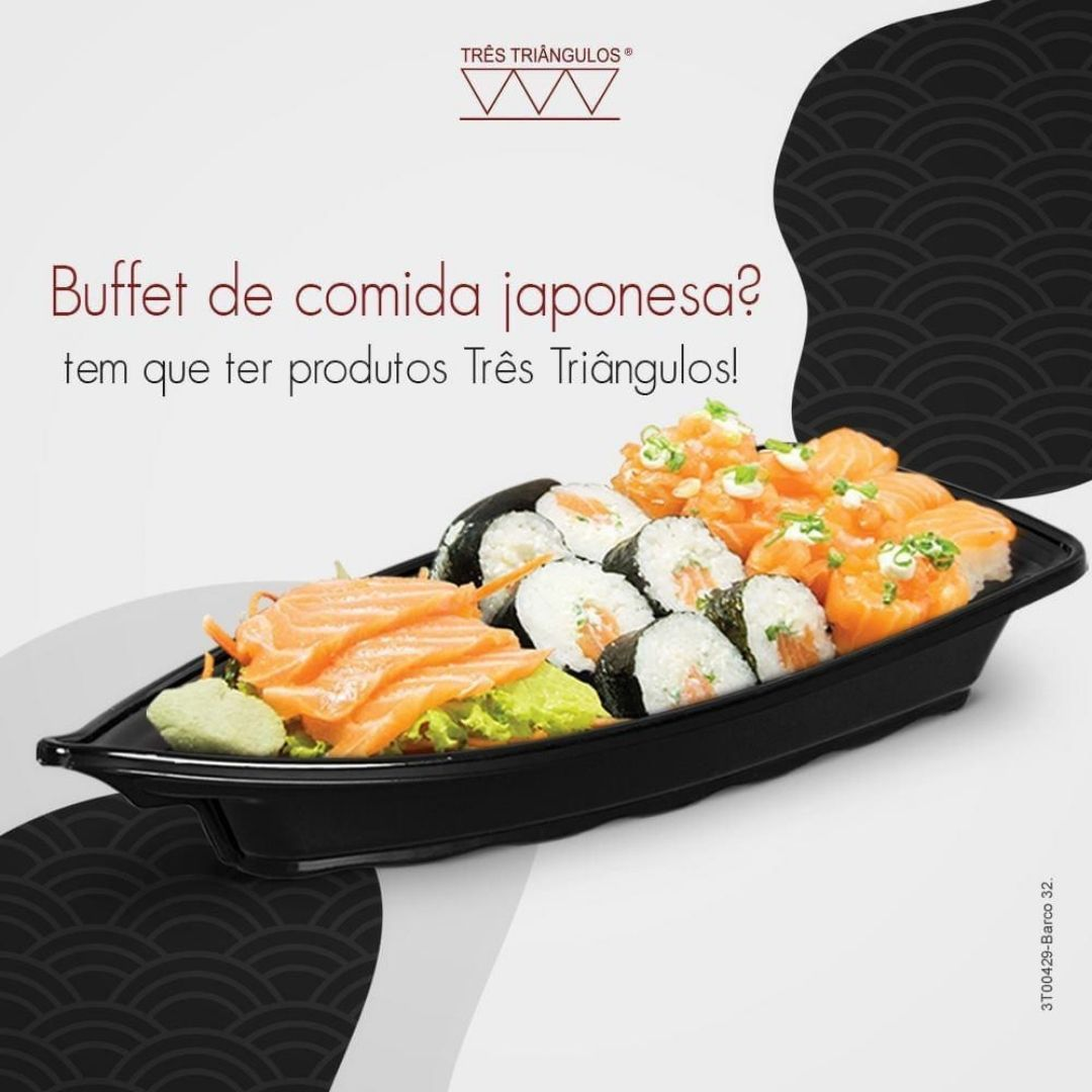 Kit 06 Barca Barco para Açaí Sushi Sashimi Bandeja 32 Preto