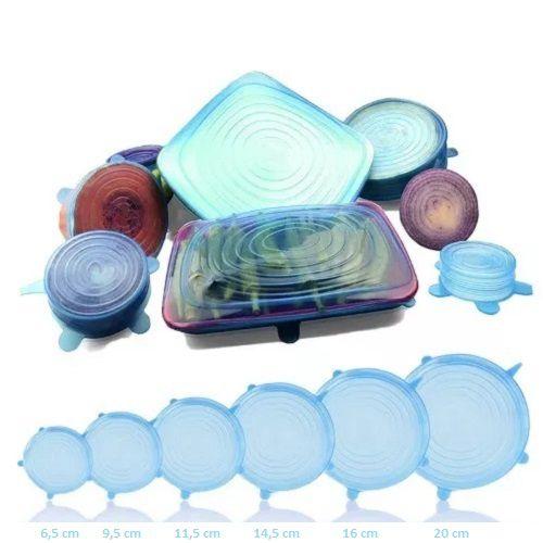 Kit 24 Tampas Silicone Panelas e Potes Elástica Reutilizável