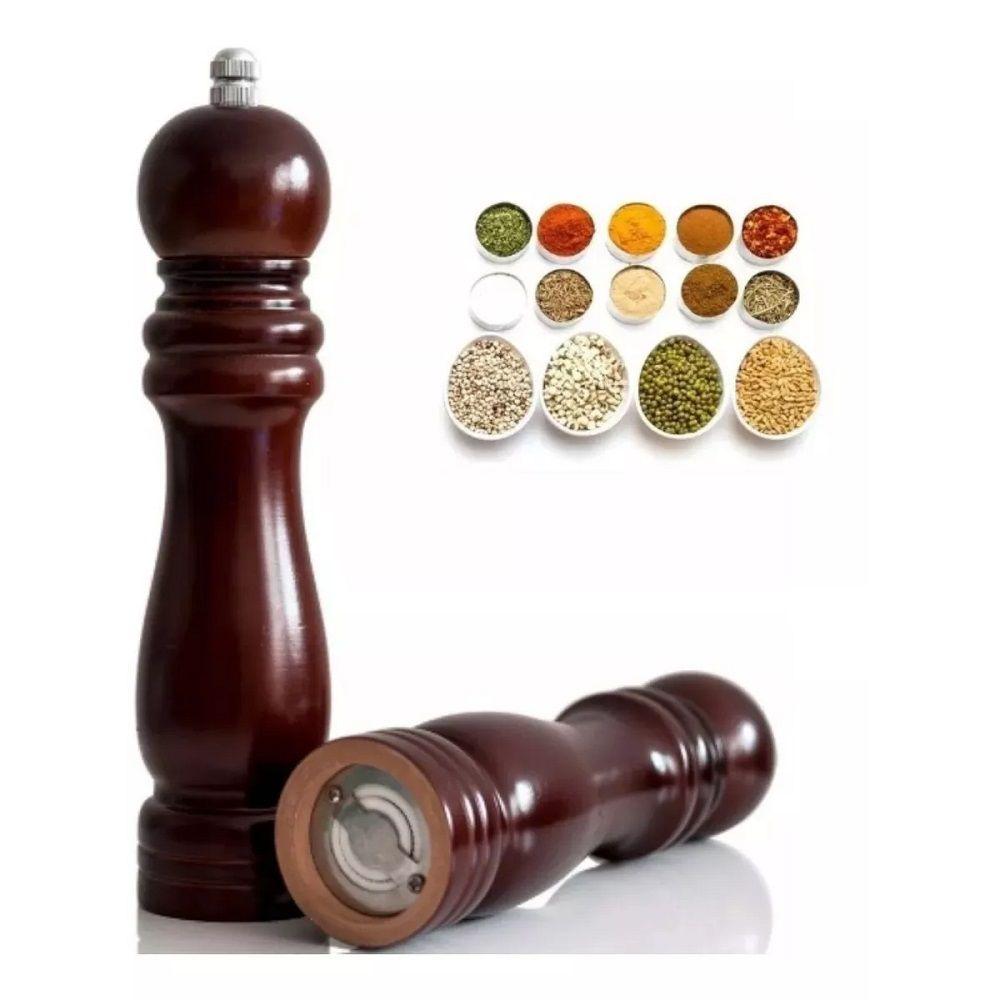 Kit 3 Moedor de Pimenta e Sal Madeira Moinho Cerâmica