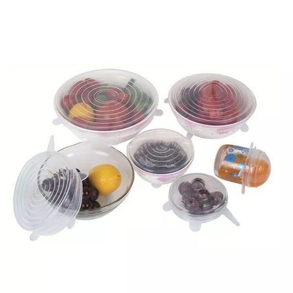 Tampas Silicone Panelas e Potes Elástica Reutilizável Kit 06