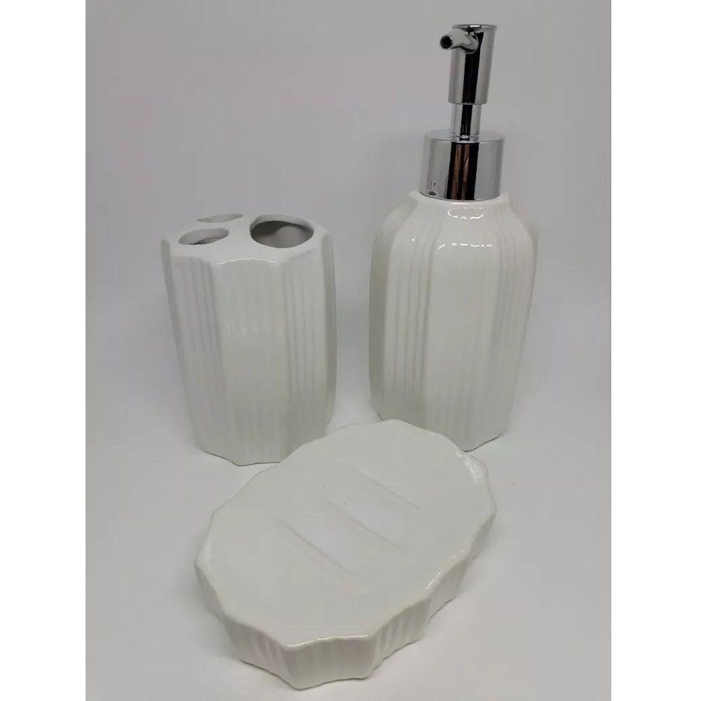 Kit Banheiro Porcelana 3 pçs Porta Escova e Sabonete Liquido