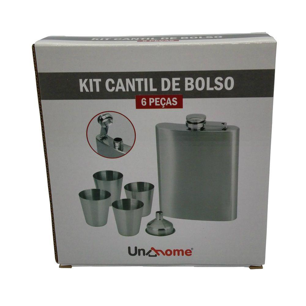 Kit Cantil Garrafa de Bolso Inox Copos e Funil 06 Peças