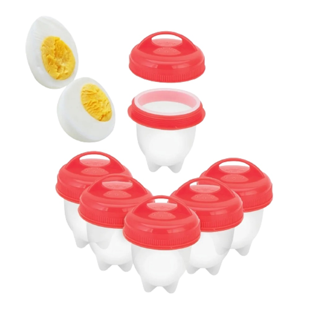 Kit Copo Cozedor Ovos Cozidos Forma de Silicone Egg 06 peças