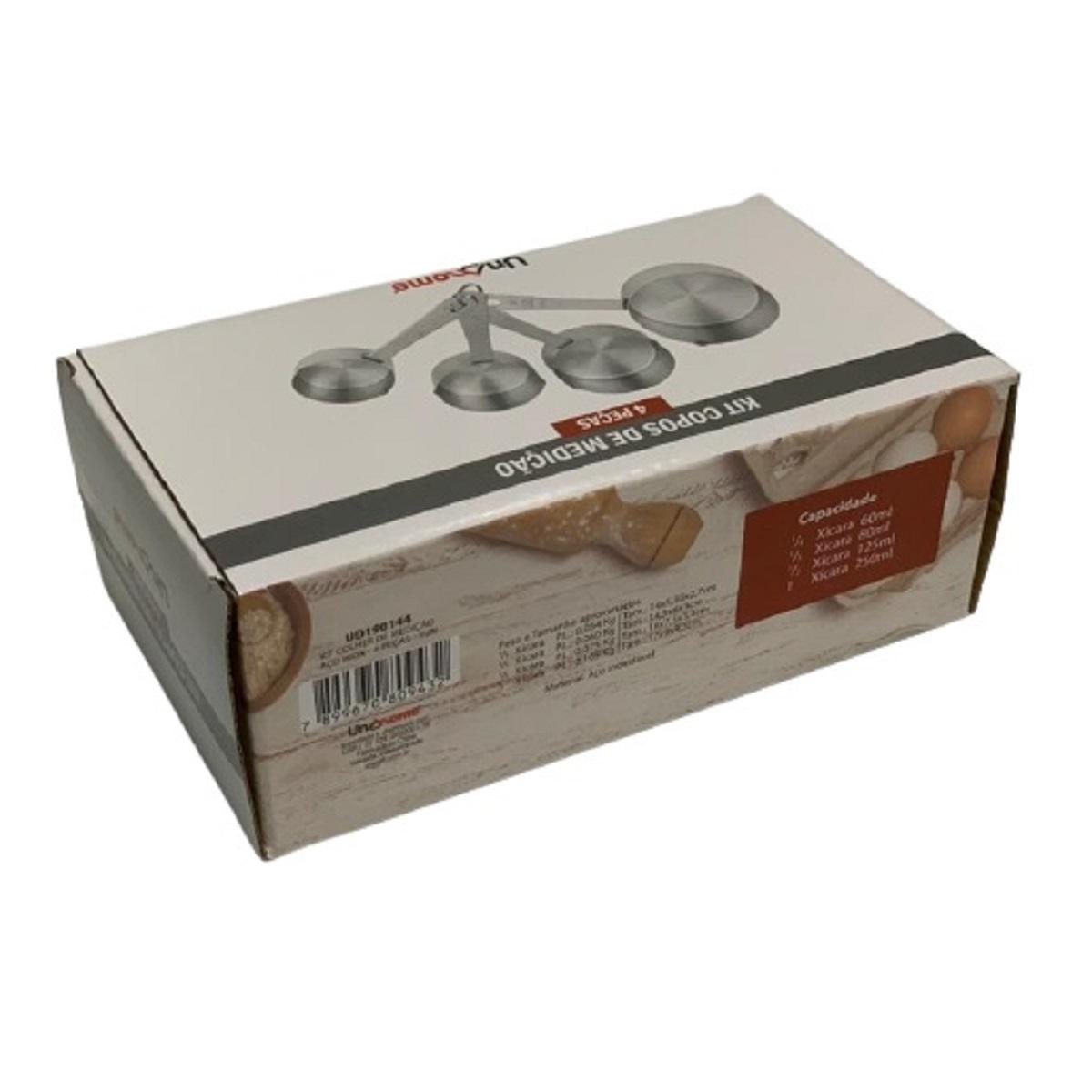 Kit Medidores de Cozinha 4 peças Aço Inox Colher Xicara Copo