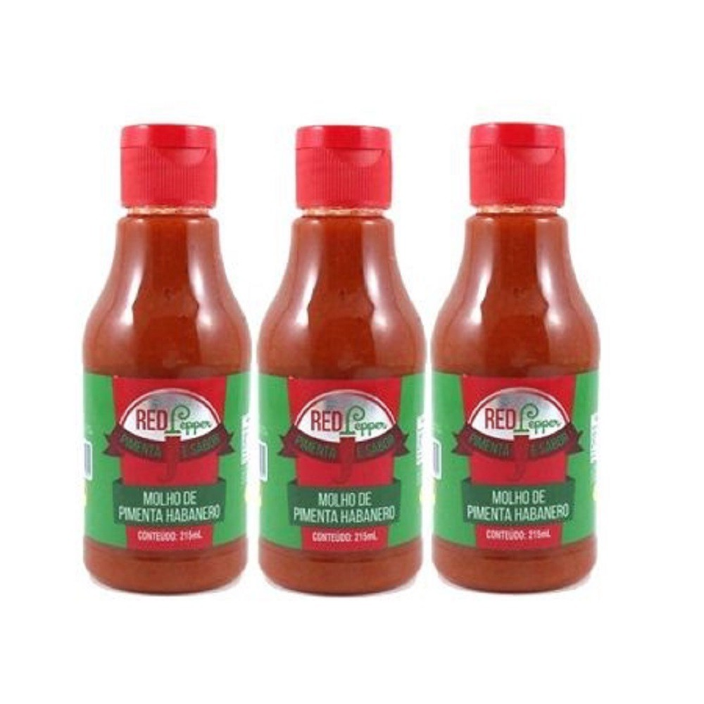 Kit Molho de Pimenta Mendez 215ml 03 Red Pepper Habanero