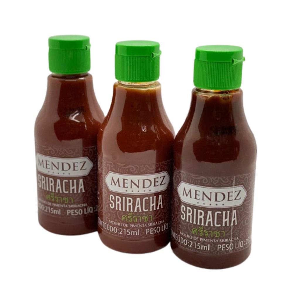 Kit Molho de Pimenta Mendez 215ml 03 Sriracha Sabor Oriental