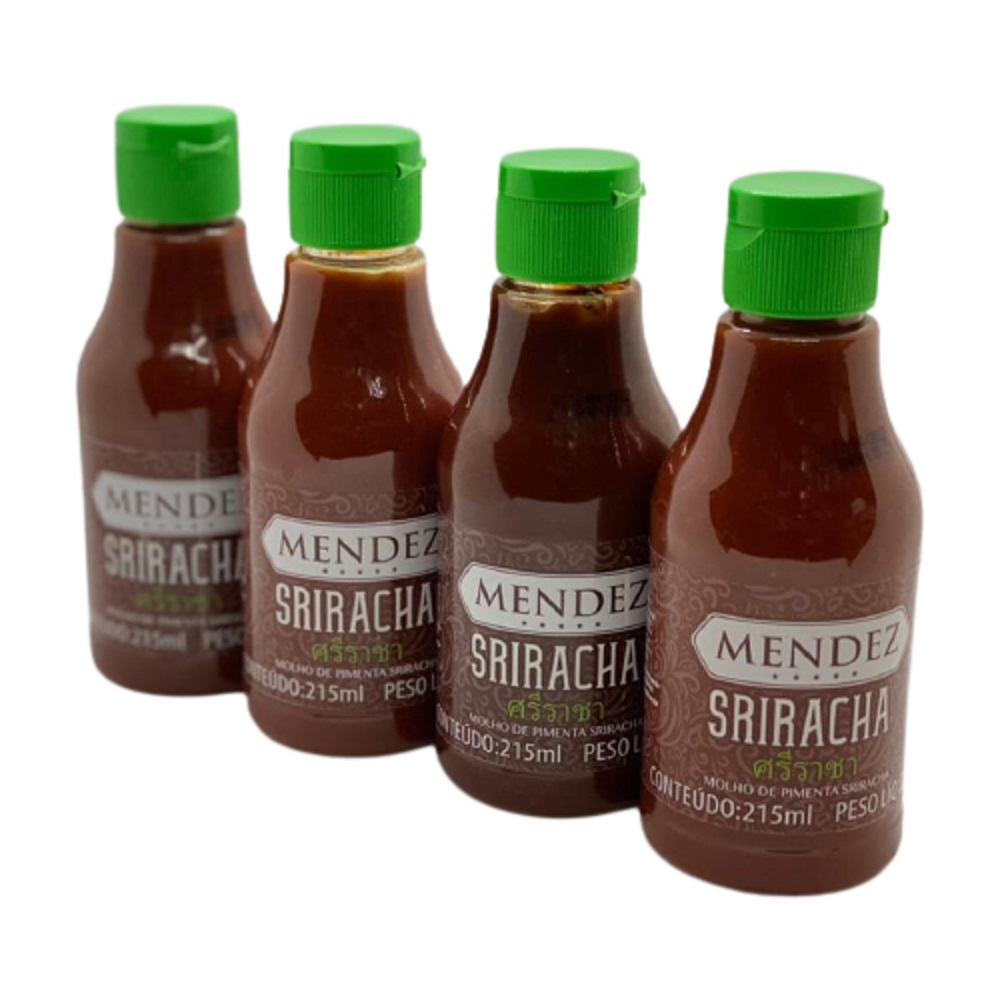 Kit Molho de Pimenta Mendez 215ml 04 Sriracha Sabor Oriental
