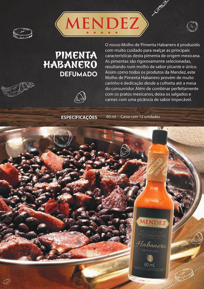 Kit Molho de Pimenta Mendez 60ml 06 Habanero Defumada Vidro