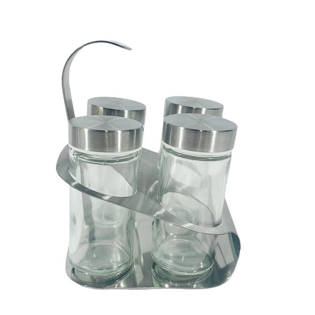 Kit Porta Temperos Condimentos Inox e Vidro 04 Pçs e Suporte