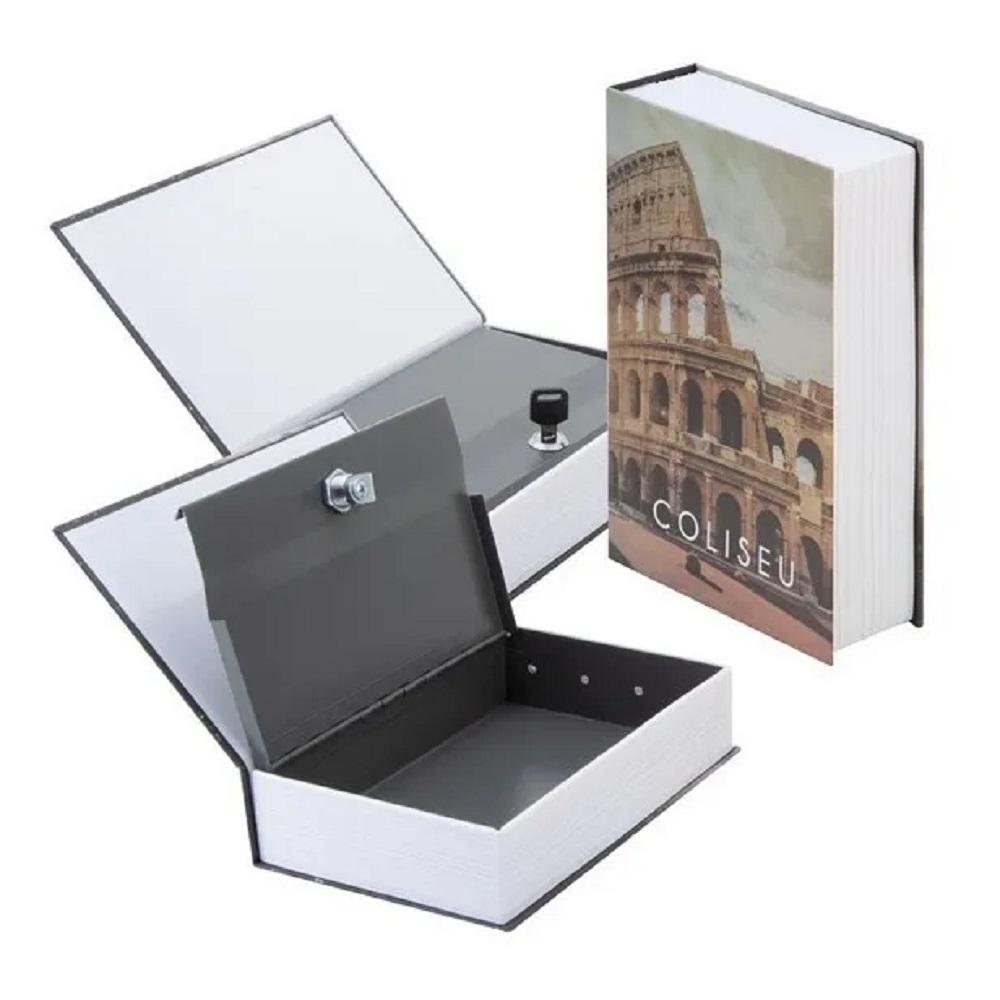Livro Cofre Camuflado Decoração Metal com Chave Porta Joias