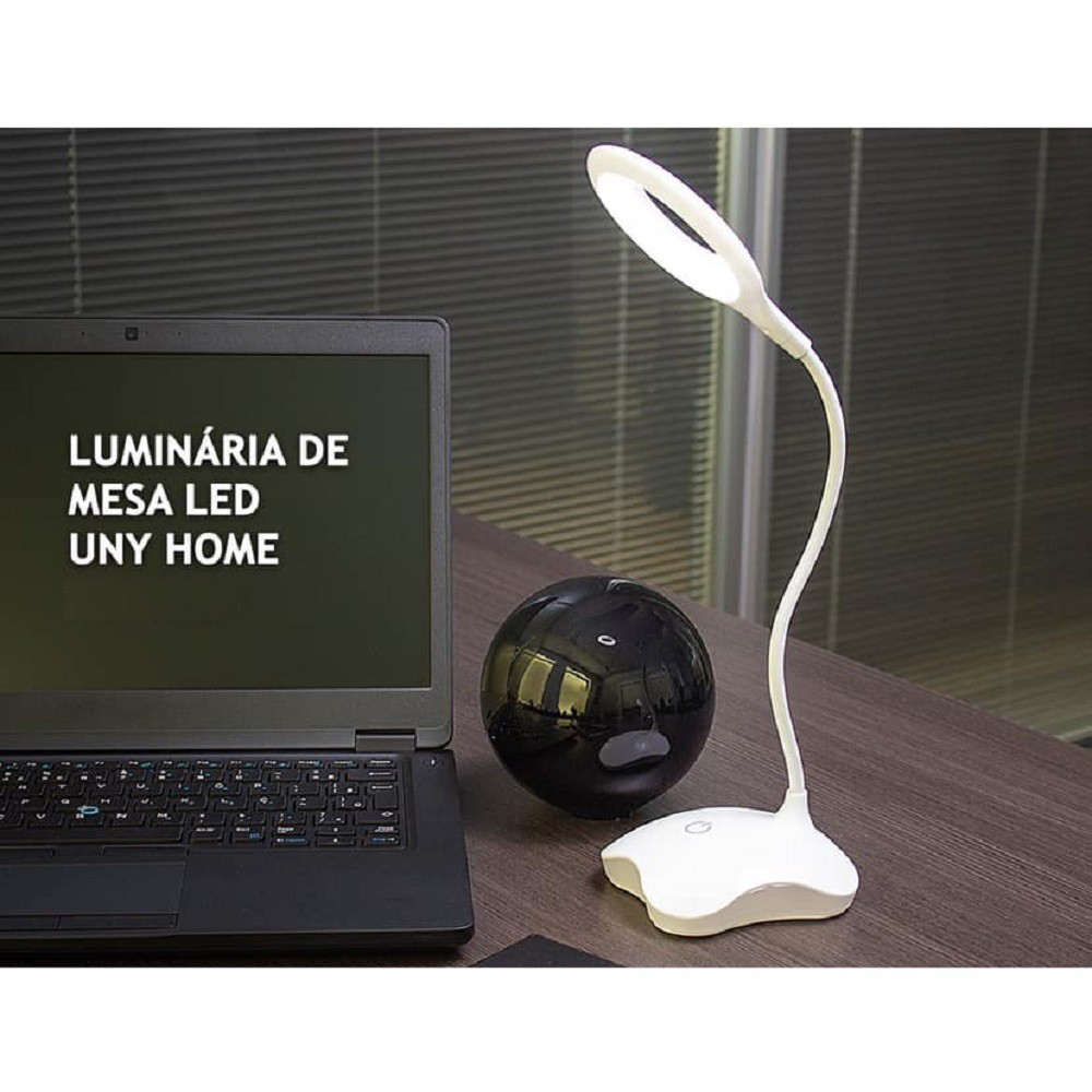 Luminária de Mesa Haste Flexível Led 3 Níveis Luz Touch
