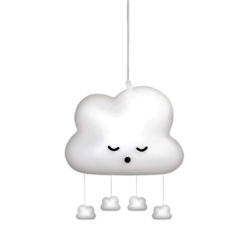 Luminária Nuvem Pendente com Mobile Natural Bebe Decorfun