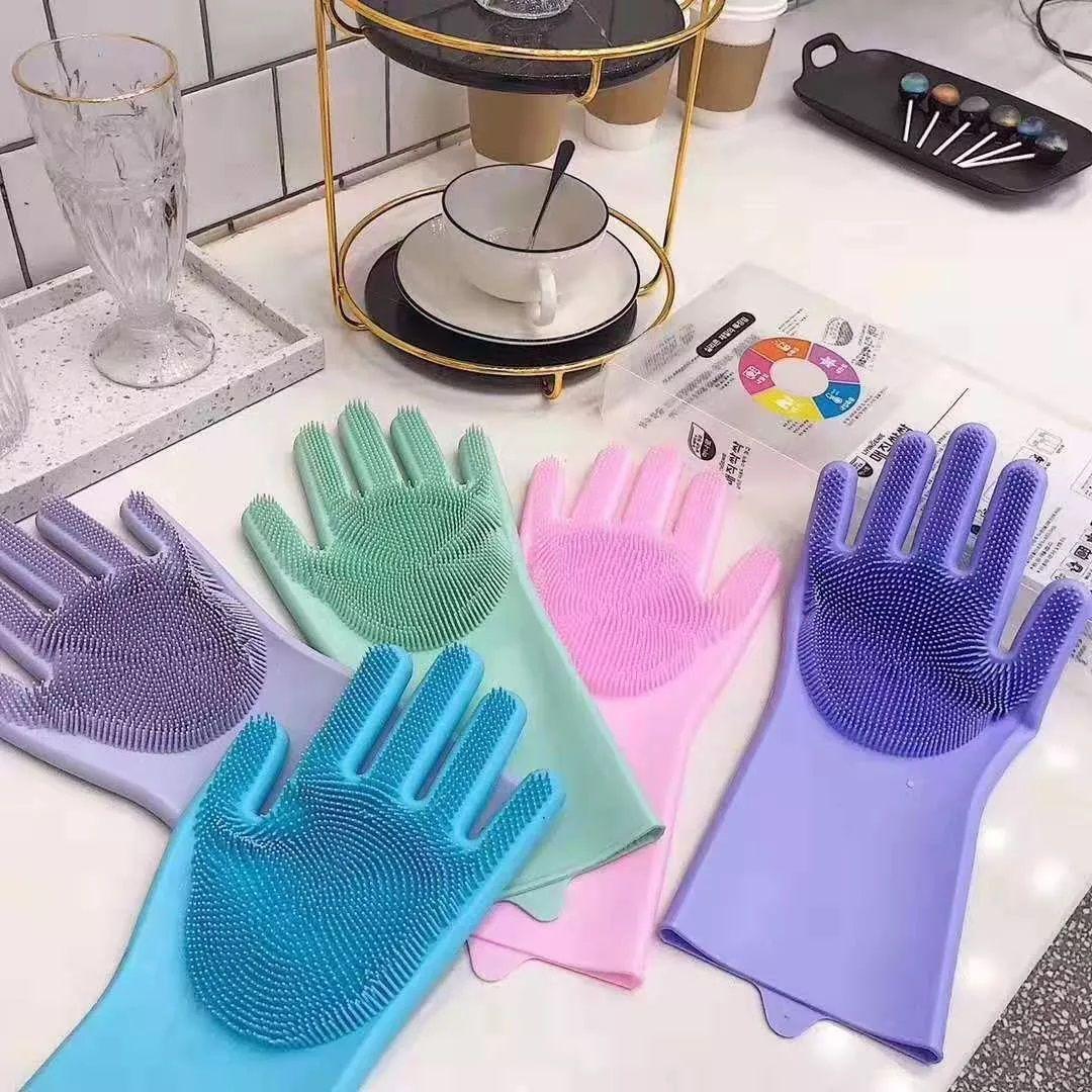 Luva de Silicone Lava Louça Par Macio Limpeza Pet