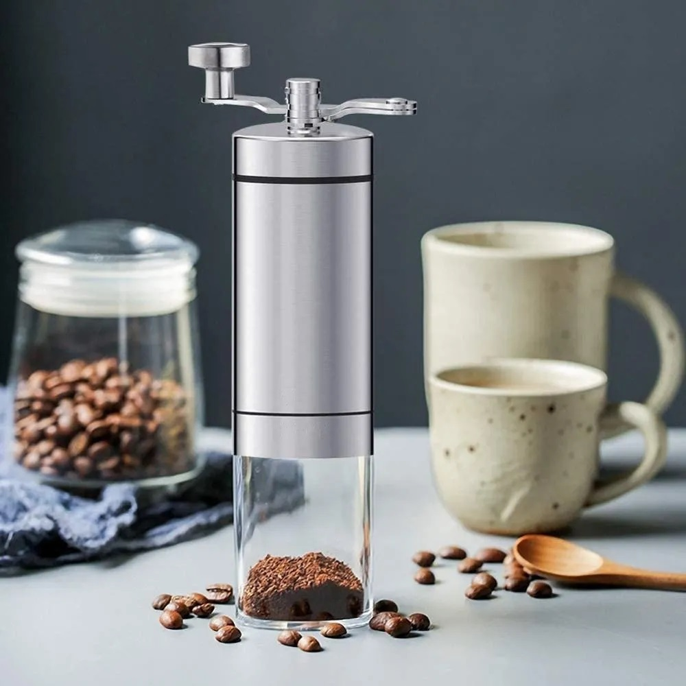Moedor de Café Manual em Inox e Cerâmica com Ajuste Grãos