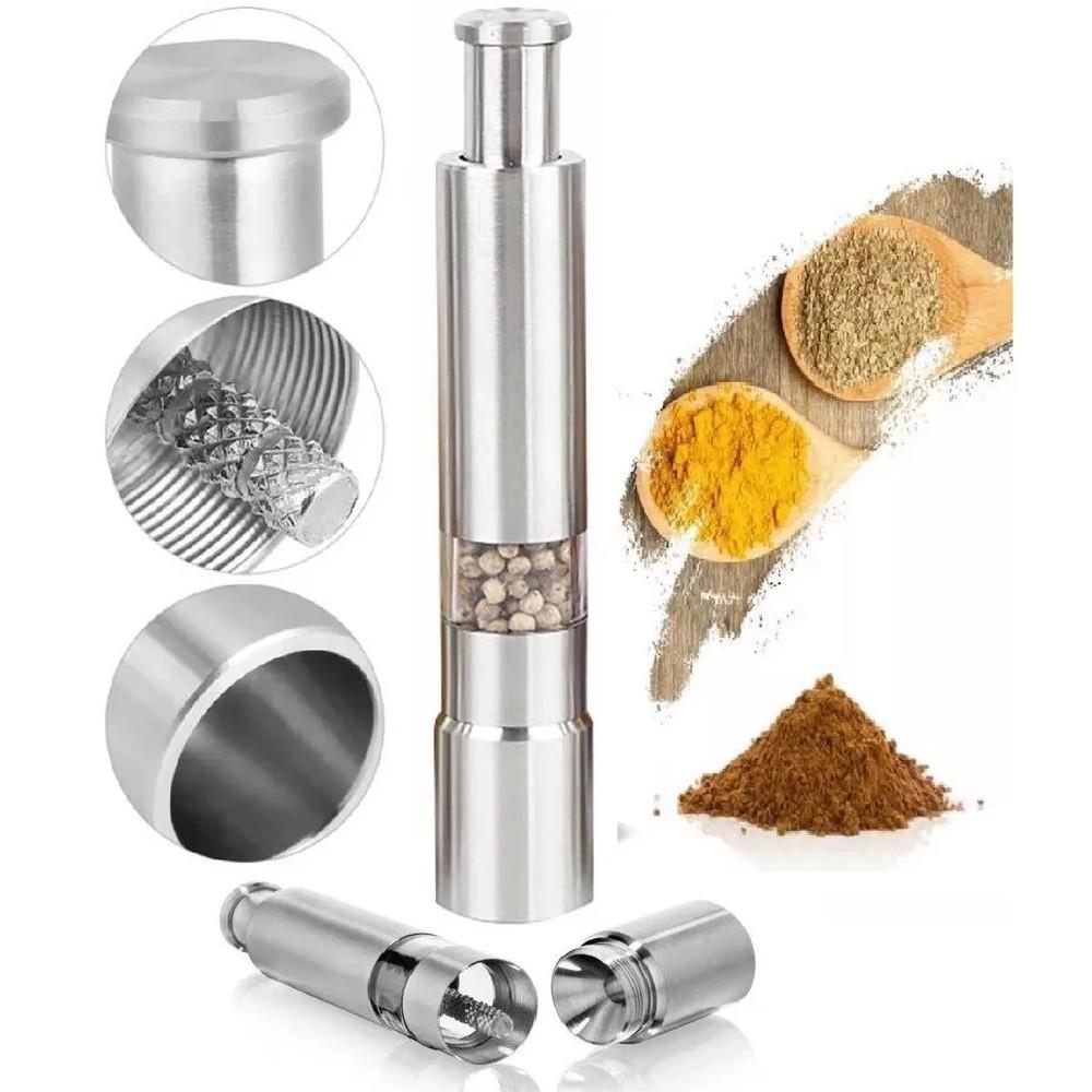 Moedor de Pimenta ou Sal Manual Aço Inox Cozinha Gourmet