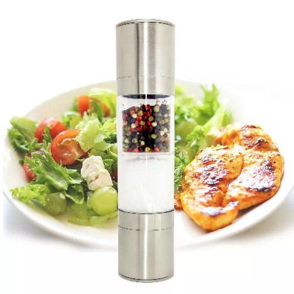 Moedor de Sal e Pimenta em aço Inox Gourmet 2 em 1