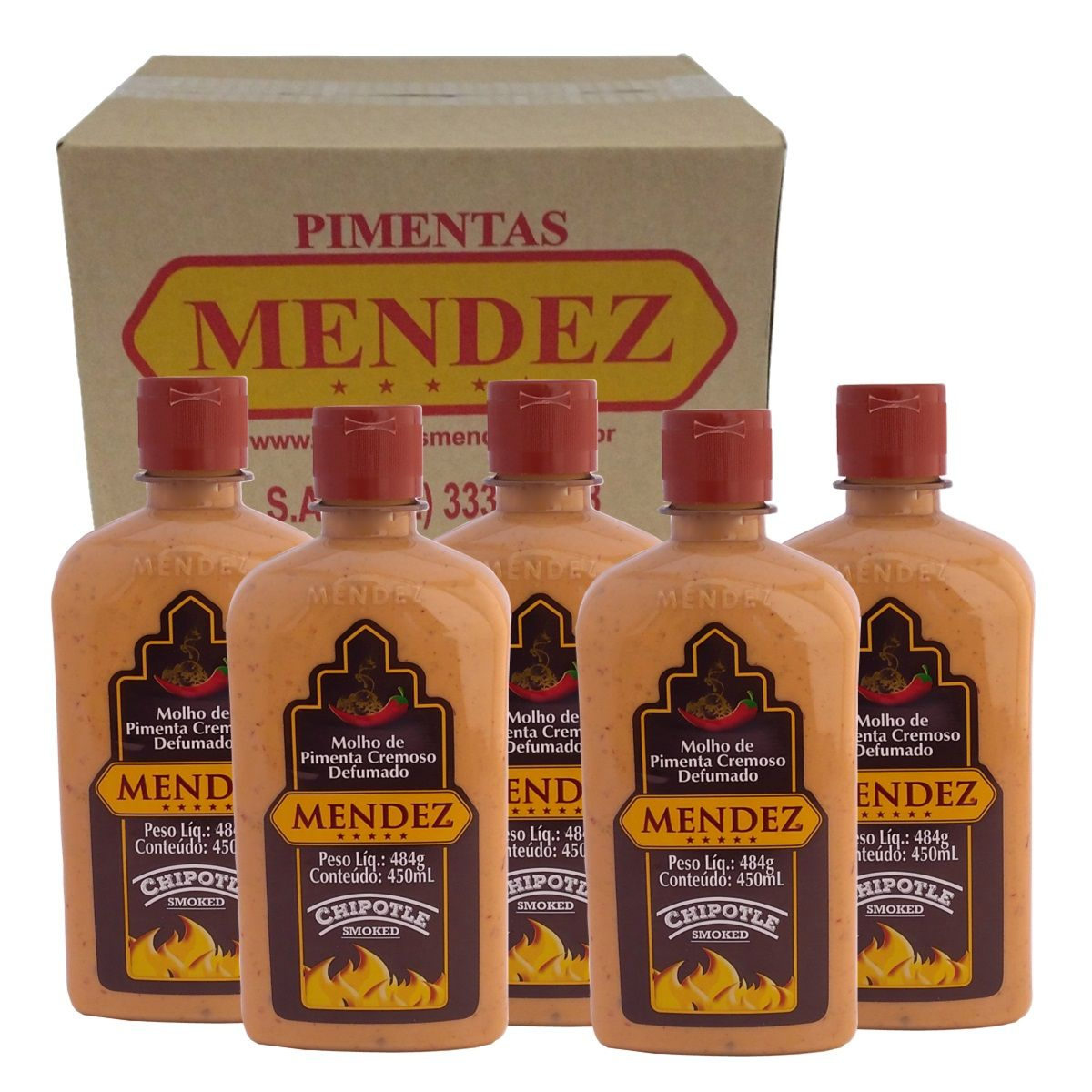 Kit Molho Pimenta Mendez 450ml 05 Cremosa Defumada Chipotle