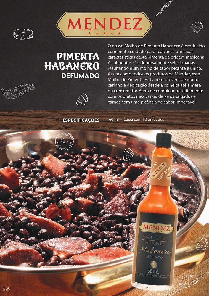 Molho de Pimenta Mendez 60ml Habanero Defumada Vidro Premium