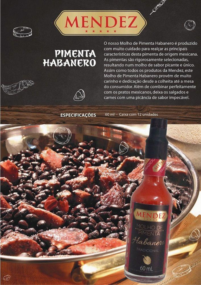 Molho de Pimenta Mendez 60ml Habanero Tradicional em Vidro