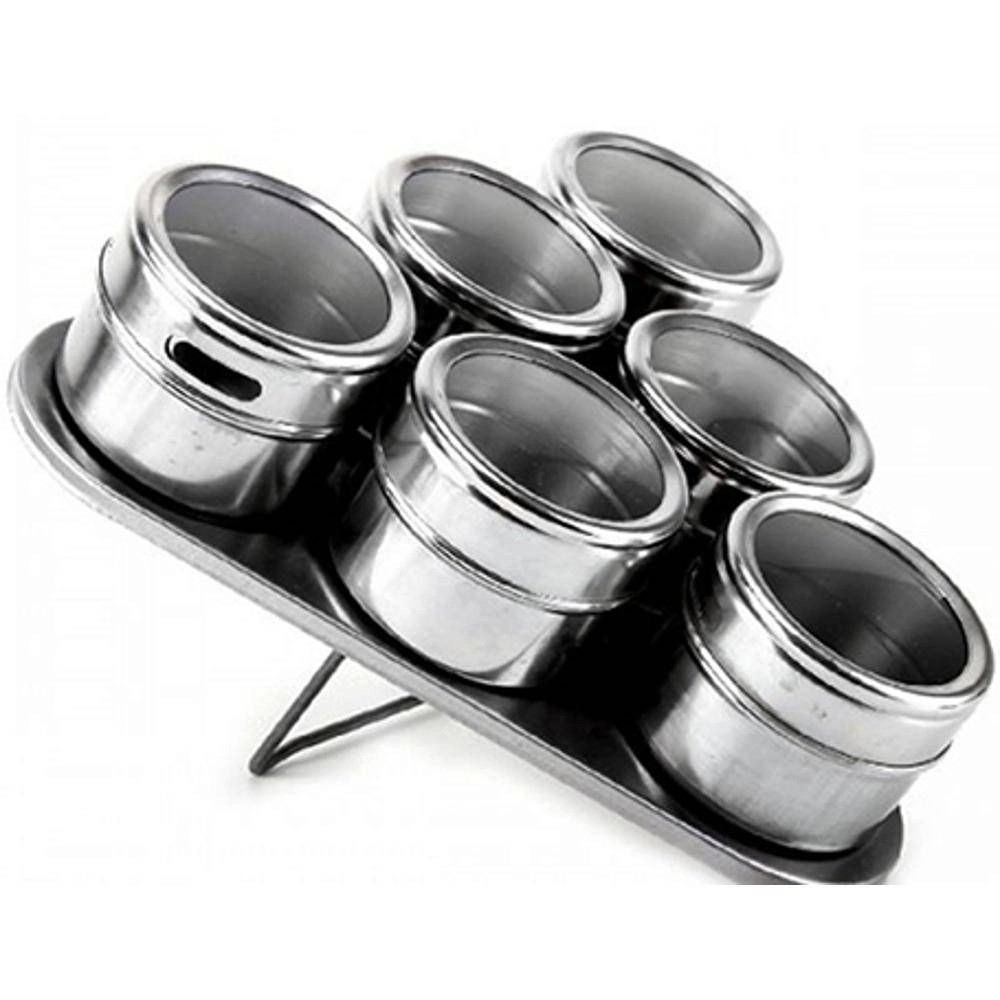 Porta Temperos e Condimentos Magnetico Inox Jogo 06 Potes
