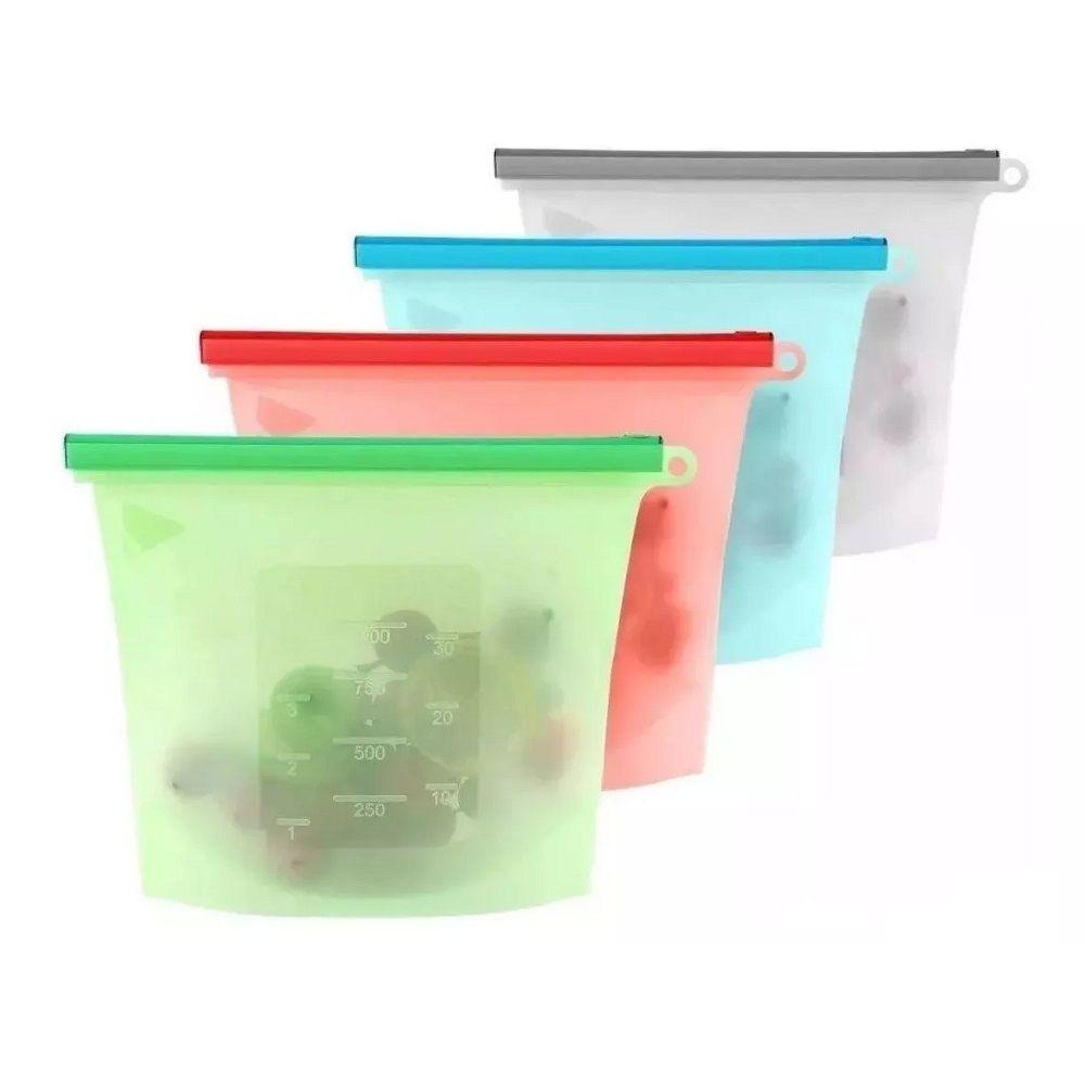 Saco Porta Alimentos Silicone Freezer Micro e Ondas 04 peças