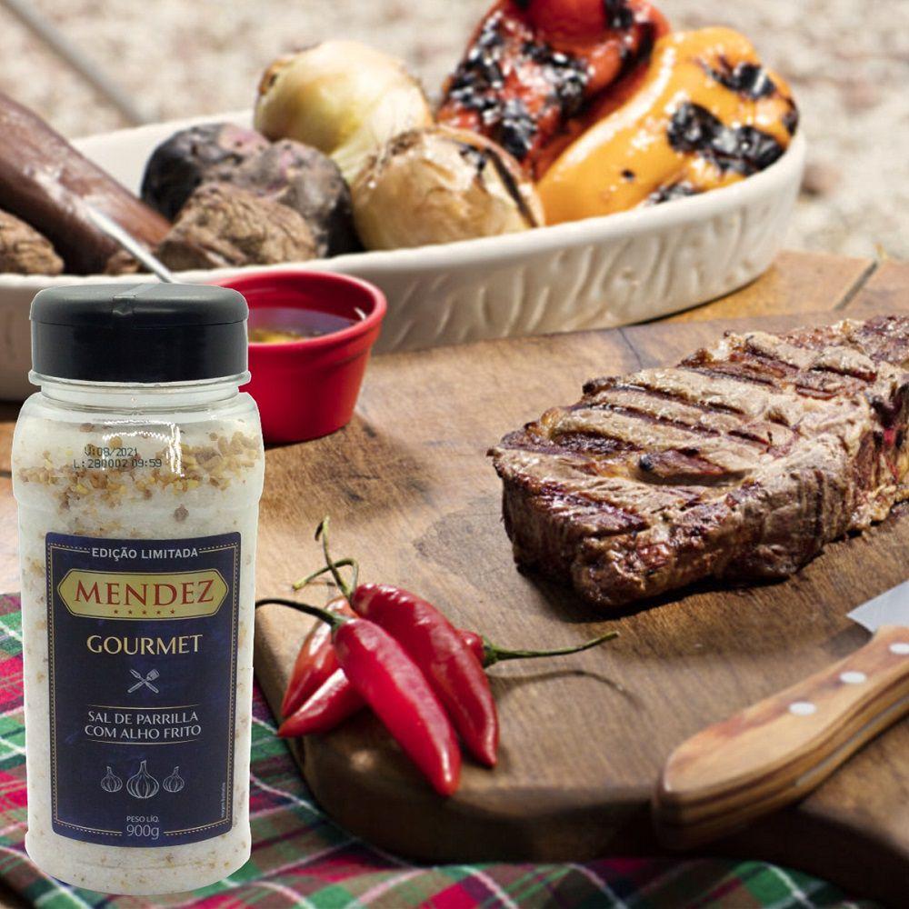 Sal de Parrilla Mendez 900g com Alho Frito para Churrasco
