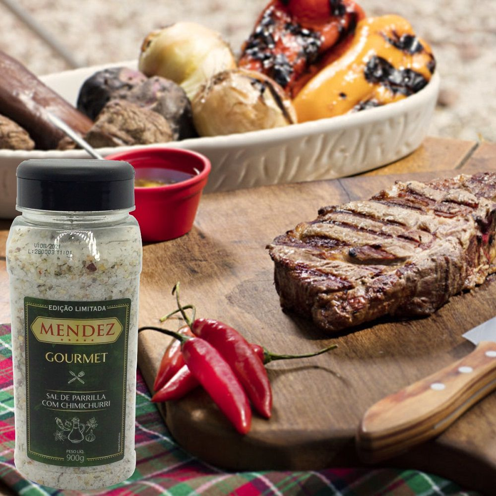 Sal de Parrilla Mendez 900g com Chimichurri para Churrasco