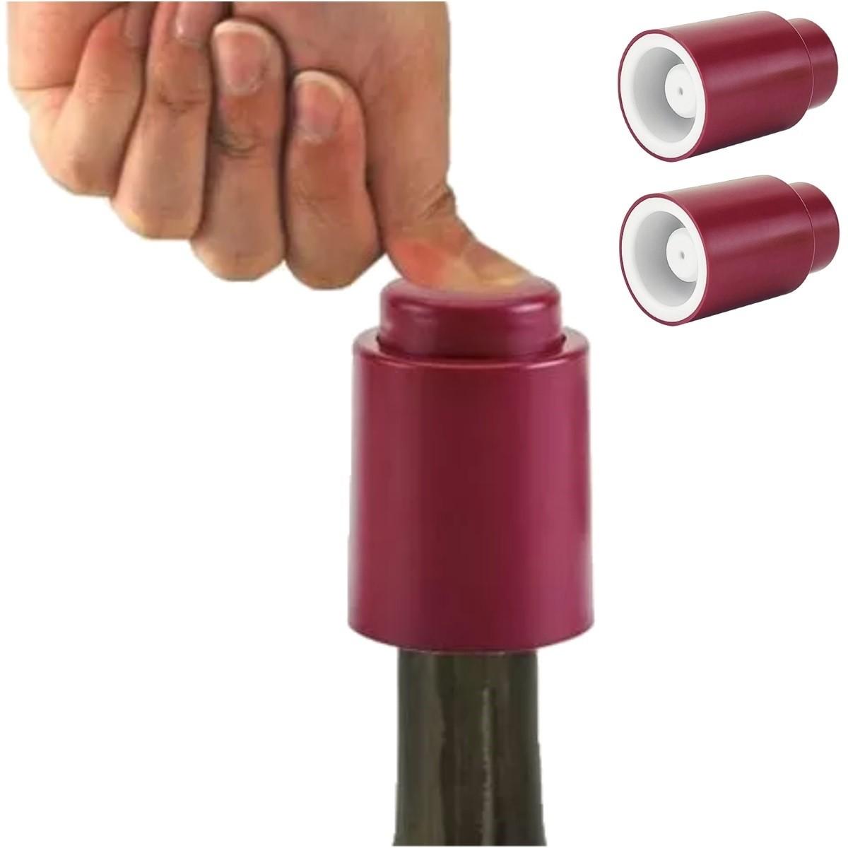 Tampa Garrafa de Vinho a Vacuo Pressão Rolha 03 unidades