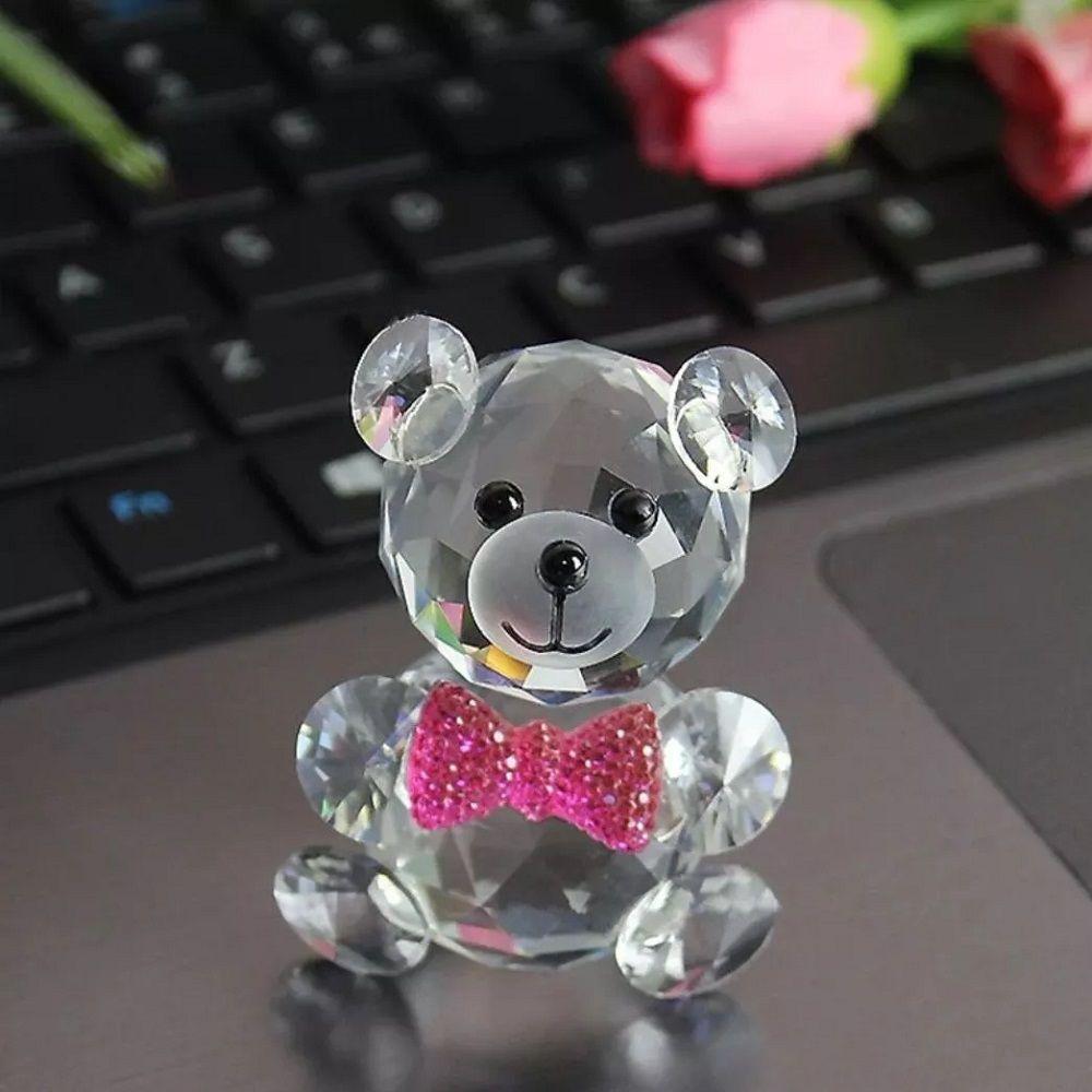 Urso de Vidro Enfeite de Mesa Ursinho Decoração 04 Peças