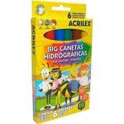 CANETA HIDROGRÁFICA JUMBO 6 CORES - 06936 - ACRILEX - CX 1