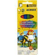 CANETAS HIDROGRÁFICAS 6 CORES - 06926 - ACRILEX - CX 1