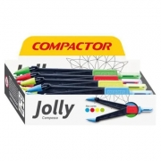 COMPASSO PLÁSTICO ESCOLAR CORES SORTIDAS - JOLLY - COMPACOTOR