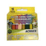 GIZ DE CERA CURTO 56G - 92150000 - ACRILEX - CAIXA C/15 CORES