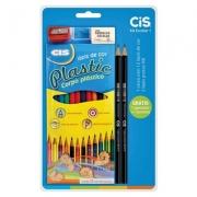 Kit Escolar 1 CIS com 5 Peças (1 CAIXAC/12 Lápis de Cor, 2 Lápis Preto, 1 Apontador e 1 Borracha) - CIS
