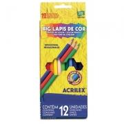 LÁPIS DE COR 12 CORES HEXAGONAL  BIG - 09613 - ACRILEX