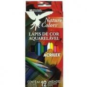 LÁPIS DE COR AQUARELÁVEL 12 CORES NATURE COLORS - REF. 09652 - ACRILEX