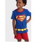 PIJAMA DC COMICS SUPERMAN CAMISETA MANGA CURTA COM CAPA E SHORTS TAM 2/4/6/8 - CT08 - GET BABY