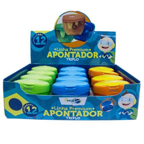APONTADOR PARA LÁPIS E GIZ TRIPLO COM DEPÓSITO E TAMPA  - BB21008-12 - BRASILOFFICE - UNIDADE