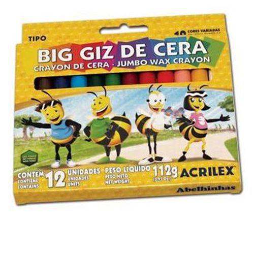 BIG GIZ DE CERA JUMBO 112G - 09111 - ACRILEX - CAIXA C/12 CORES